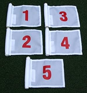 Set of Red Numbered #1, #2, #3, #4, and #5 each printed on a solid White Jr. (8