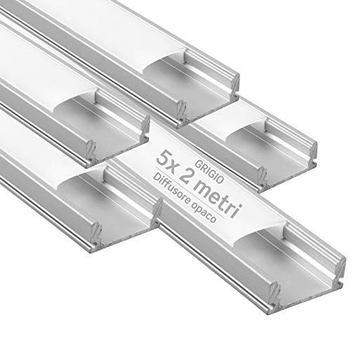 5x Profili da 2 metri (10mt) in Alluminio grigio per Strisce LED Schermatura Opaca ingombro max striscia led 12.4mm - 17.4 x 7