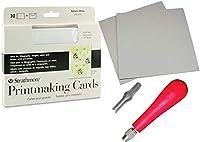 カードプリントプレート スタジオパック グレー カットカービング 2プレート 5 x 6 スピードボール リノリウム カッティングツール 彫刻刀 アーティスト印刷アート 空白カード&封筒