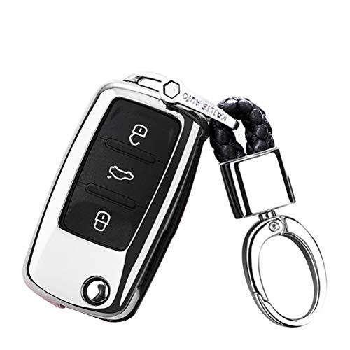 Happyit TPU Doux Cas de Couverture de Clé de Voiture avec Porte-clés pour VW Volkswagen Skoda Golf7 Polo Tiguan Passat Jetta MK4 MK5 MK6 Coccinelle (Argent)