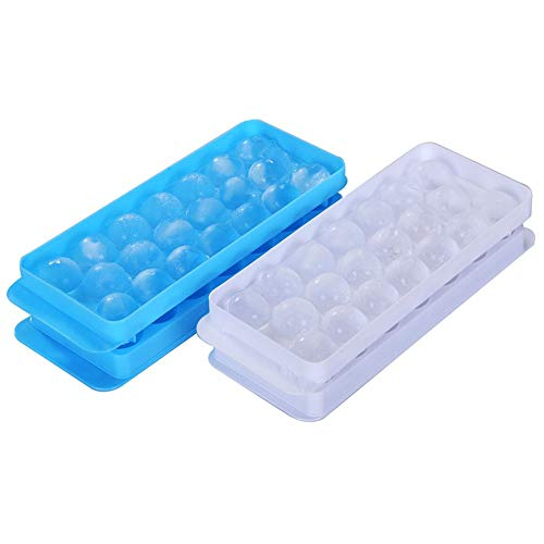 Ice Ball Tray Spheres Ice Cube Mold, Plastic Food-Grade Stackable Round Ice Ball Mold with Lid for Cocktail and Whiskey - Set of 2 (Blue & White)