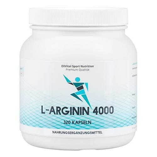 EXVital L-Arginin 4000 hochdosiert, 320 Kapseln in deutscher Premiumqualität, 2-3 Monatskur, semi-essentielle Aminosäuren 1er Pack (1x 403g) Bild
