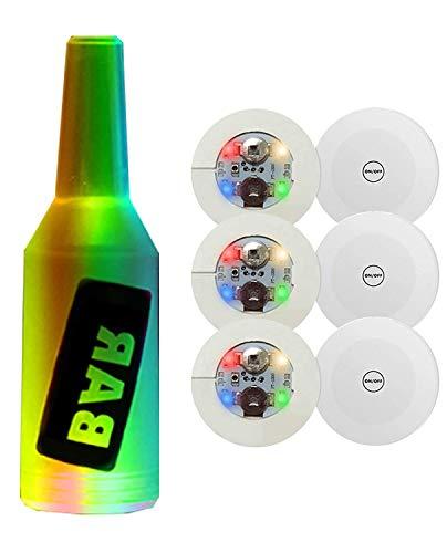 Ingjie 6 posavasos de barra LED, pegatinas LED, soportes para botellas, luces LED para fiestas, iluminación de botella para pegar bajo la botella con 8 funciones de iluminación.
