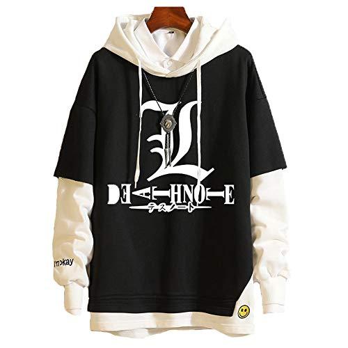 GUJUN Cosplay Anime Death Note Hoodie Sweatshirt Unisex Langarmpullover Fake Two Clothes