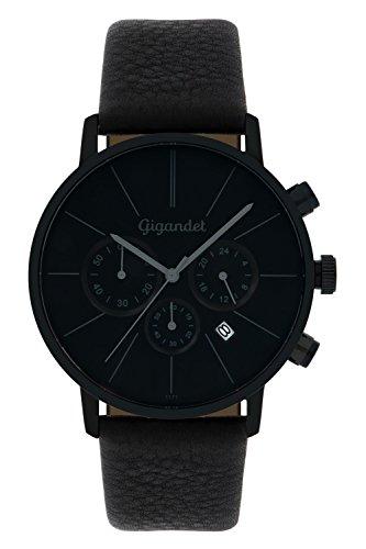 Gigandet Minimalism Herren-Armbanduhr Chronograph Quarz Analog mit Lederarmband G32-004