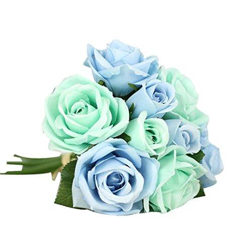 Unechte Blumen Timogee Künstliche Deko Blumen Gefälschte Blumen Seidenrosen Plastik Köpfe Braut Hochzeitsblumenstrauß für Haus Garten Floral Künstliche Fake Roses Flanell Blume (Blau)