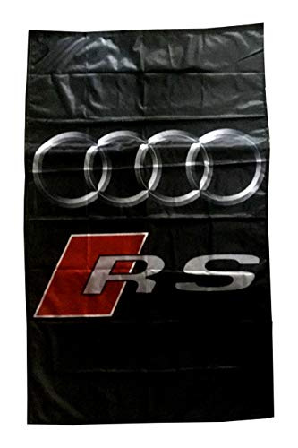 AU-DI RS Vertical Black Flag Banner 3 X 5 ft