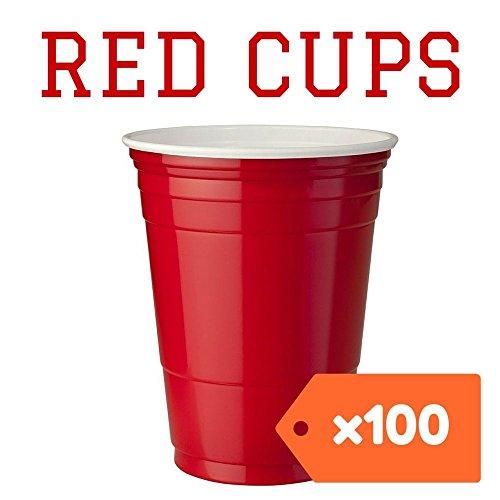 Rote Partybecher 100 Stück | Kunststoffbecher | Plastikbecher | Original USA Turnierbecher | Camping | Wiederverwendbar | 16oz 473ml