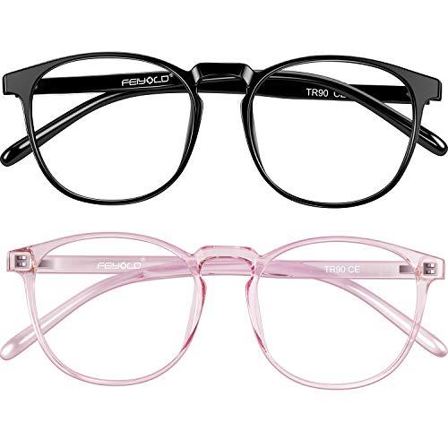 FEIYOLD Blue Light Blocking Glasses Women Men for Computer Use, Lightweight Anti Eyestrain Gaming Glasses(2Pack)
