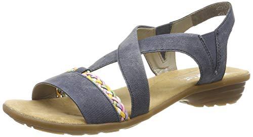 Rieker Damen V3451-15 Geschlossene Sandalen, Blau (Jeans/Rainbow 15), 37 EU