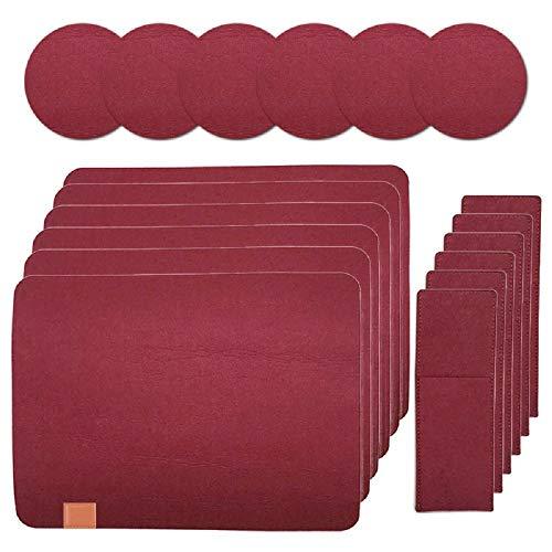 Sets de Table Feutre, Lot de 6 Sets de Table avec 6 Dessous de Verre et 6 Sacs à Couverts, Antidérapant, Lavable, Facile à Nettoyer pour Dîners de Famille,Rouge