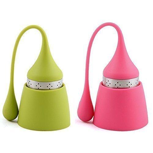iNeibo Teesieb Teeei für Loses Tee aus Rostfreiem Edelstahl und Lebensmittelechtem Silikon, hübsches Teefilter mit Auffangbehälter. 2er Set Pink und Grün
