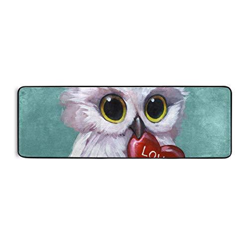 FANTAZIO Teppich mit 3D-Eule und Herzen, 183 x 61 cm