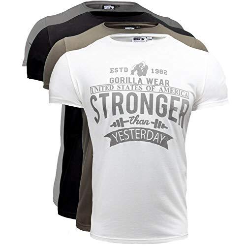 GORILLA WEAR Fitness T-Shirt Herren - Hobbs - Stronger Than Yesterday S-5XL Army Green M