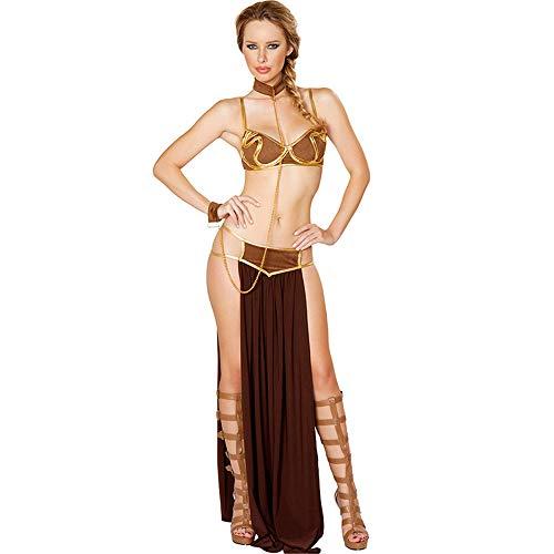 ZQ Nachtclub Sexy Unterwäsche Kleidung Damen Arabischer Langer Rock Prom Nachtclub Set,Brown