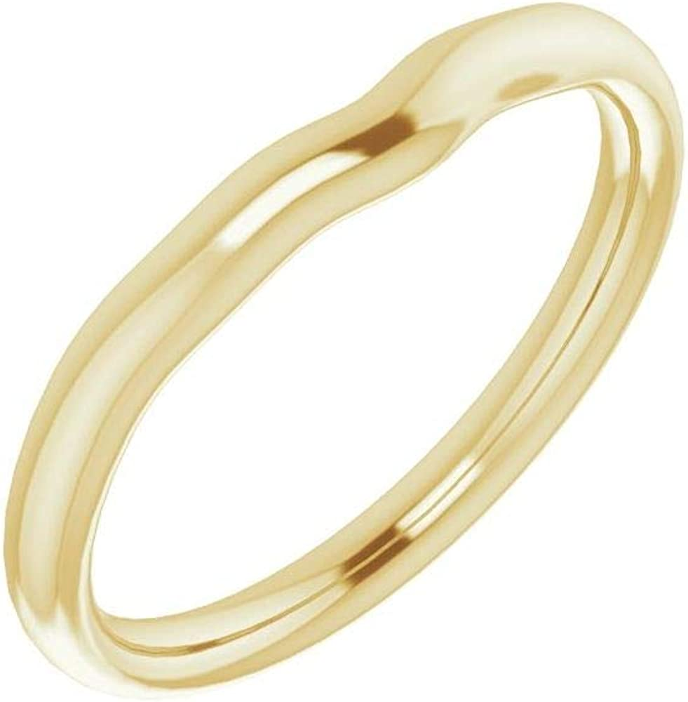 Solid Sale item Nippon regular agency 14K Yellow Gold Curved Notched Cush 5x5mm Wedding Band for