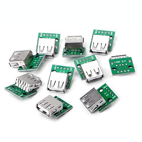 DollaTek 10PCS La Placa Hembra USB 2.0 a Dip 4p Placa de Adaptador de Enchufe Recto se ha Soldado Cable de Datos de teléfono móvil USB-03