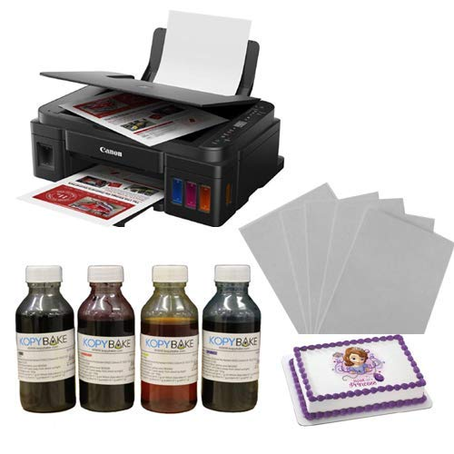 KOPYBAKE Canon Pixma G3010 All in one Photo Cake Printer Kit Including 25 Icing Sheets and 1 Edible Ink Set (CMYK, 100 ML)