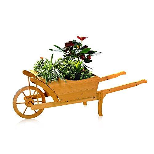 Melko Pflanzschubkarre/Blumenkarre aus Holz, 129 × 45 × 43 cm, braun, Schubkarre Pflankarre Blumenkübel