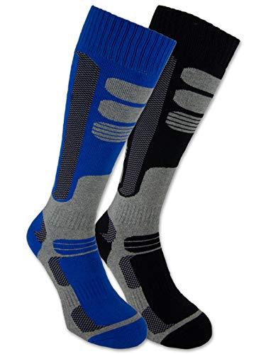 sockenkauf24 2 Pares de Calcetines de esquí y Snowboard, Calcetines térmicos de Rodilla para Hombres y Mujeres Transpirables con Acolchado Especial (Negro | Azul, 39-42)