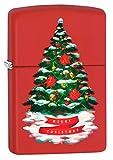 Zippo Lighter: Christmas Tree, Merry Christmas - Red Matte 80759
