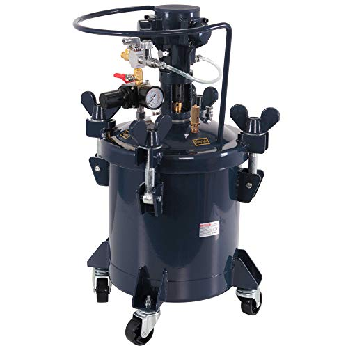 TCP Global Commercial 2 1/2 Gallon (10 Liters) Spray Paint Pressure Pot Tank with Auto Powered Mixing Agitator