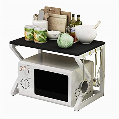 Soporte para horno microondas Soporte para microondas de 2 niveles Estante de madera para almacenamiento Estante para cocina Soporte para horno microondas Estante para gabinete de cocina Estan