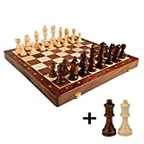 LiPengTaoHome Chess International Chess Chess Sets for Adults Folding Wooden Chess Board Chess Pieces( 34 Pieces ) (Color : Brown, Size : 39392.5cm)