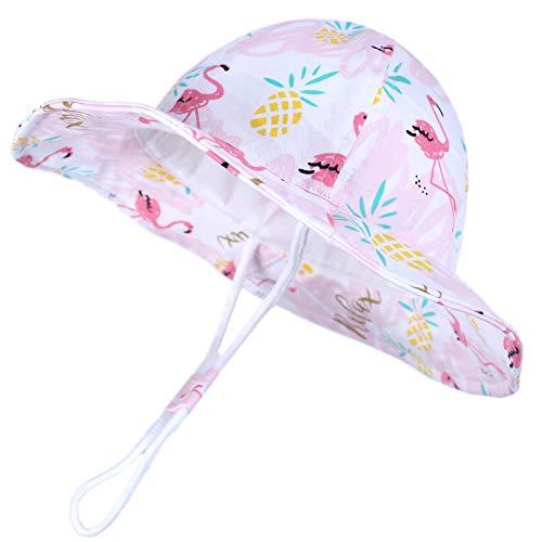 Baby Sun Hat Toddler Summer Baby Girls Hats Kids Beach Hat UPF 50+ Wide Brim Bucket Hat for Boys Girls Pink Flamingo 21.3'(54cm)/4-8 Years