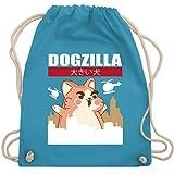 Shirtracer Anime - Dogzilla - Big Dog- weiß/rot - Unisize - Hellblau - Geschenk - WM110 - Turnbeutel und Stoffbeutel aus Baumwolle