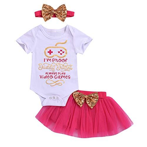 0-24M conjunto de ropa de bebé niña con estampado de letras + tutú falda + lazo,  Blanco+Rosa, 0-6M US