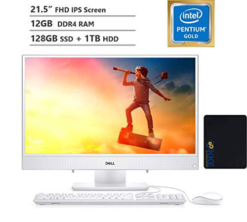 "2020 Dell Inspiron 22 All-in-One Desktop Computer 21.5"" FHD IPS Display,Intel Pentium Gold Processor 5405U, 12GB DDR4 RAM, 128GB PCIe SSD + 1TB HDD, HDMI, Wireless-AC, KKE Mousepad Bundle, Win10"