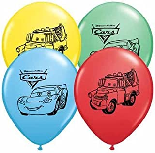 """Disney Cars Balloons 12"""" Pixar Latex Party Supplies Birthday 1 2 3 Decorations Lightning McQueen Tow Mate Mater Rayo, Package of 20 Assorted Set"""