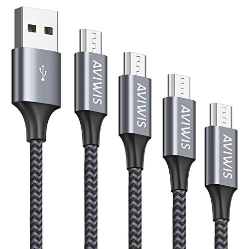 AVIWIS Micro USB Kabel [4Pack 0.3M+1M+2M+3M] Nylon Micro USB Ladekabel High Speed Handy Android Ladekabel für Samsung Galaxy S7/ S6/ J7/ Note 5, Xiaomi, Huawei, Wiko, Nokia, Kindle, PS4 - Grau