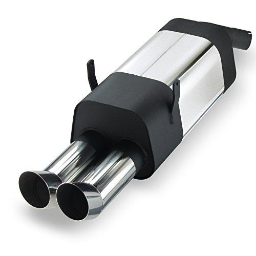JOM 85620 Edelstahl-Endschalldämpfer mit 2X 76mm DTM-Look Endrohren
