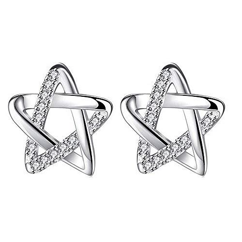 Oorbellen - lob - vrouw - klein - zilveren kleur - ster - glitter - meisje - cadeau-idee - verjaardag - kerstmis strass