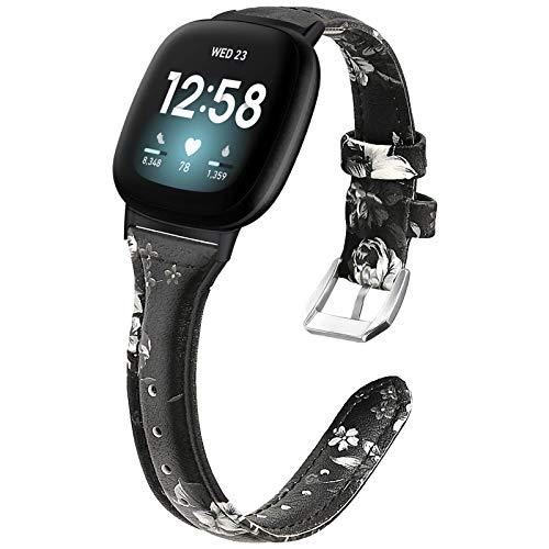 KIMILAR Correa de Cuero Compatible con Fitbit Sense/Versa 3 Correa para Mujeres Hombres, 5.5'-8.5' Pulseras de Repuesto Delgada y Estrecha Correa de Hebilla de Metal para Sense/Versa 3 Smartwatch
