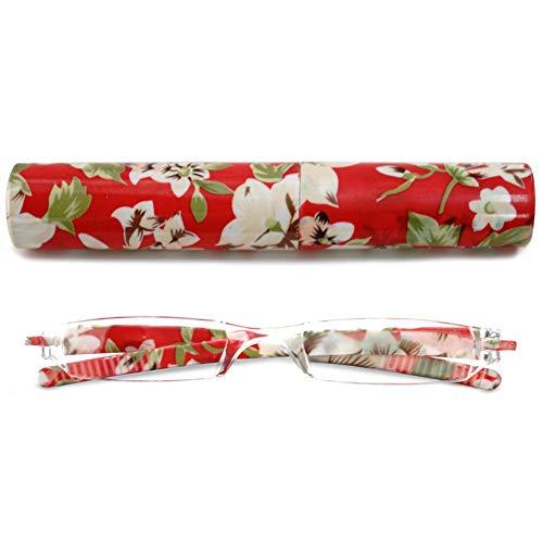 VEVESMUNDO Lesebrillen Damen Herren Kompakte Tragbare Mini Klein Schmal Modern Leichte Randlos Sehhilfe Lesehilfen Klare Arbeit Brillen Blumen Gitter mit Etui