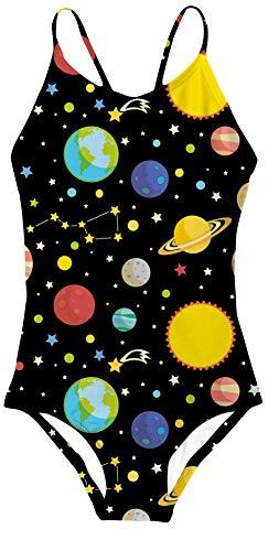 RAISEVERN Ein Stück Badeanzug Mehrfarben,Planet Black,5-6Jahre (Etikette M)