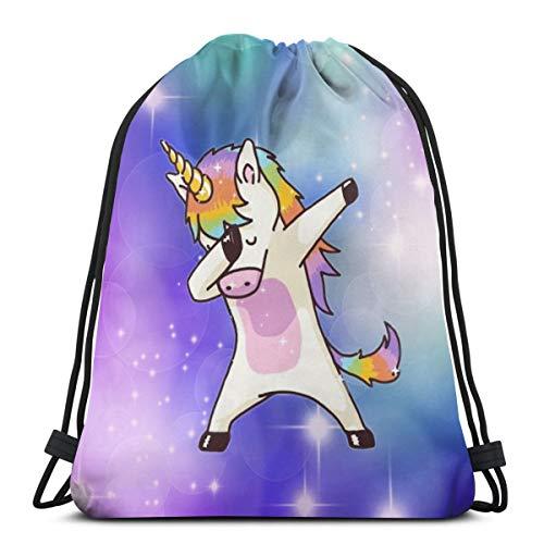 MSGUIDE Dabbing Unicorn Drawstring Backpack Bag Women & Men Sport Gym Sack Cinch Bag for Shopping Hiking Travel Beach