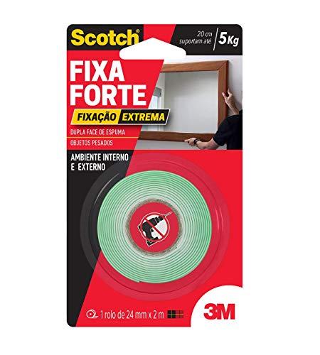 3M, Fixa Forte, Scotch, Fita Dupla Face, Fixação Extrema, 24MM X 2M.