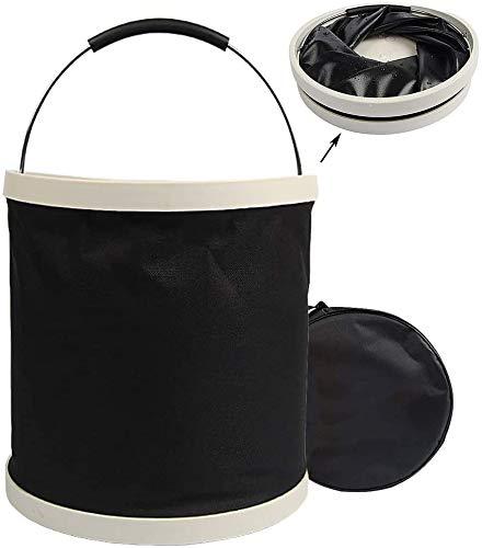 XHZDT Bequem und langlebig Falteimer Faltbare Eimer im Freien Waschbecken for Privatanwender Reinigung, Autowäsche, Angeln Camping Oxford Tuch-Material 12L Schwarz