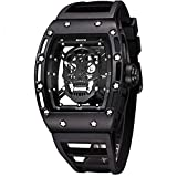 Unique Men's Skull Watches, Rectangle Skeleton Dial Sports Quartz Analog Mens Wrist Watches,Cool Diamond Big Face Skull Watches for Men