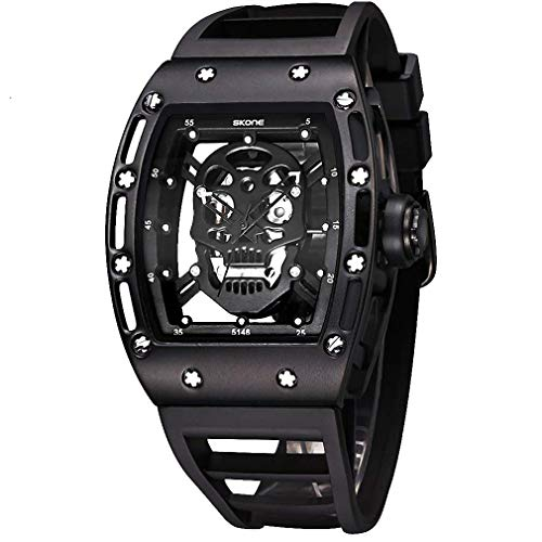 Skone Unique Skull Mens Watches, Cool Rectangle Skeleton Dial Sports Quartz Analog Waterproof Mens Wrist Watches, Fashion Diamond Skull Big Face Gift Watches for Men relojes de Hombre