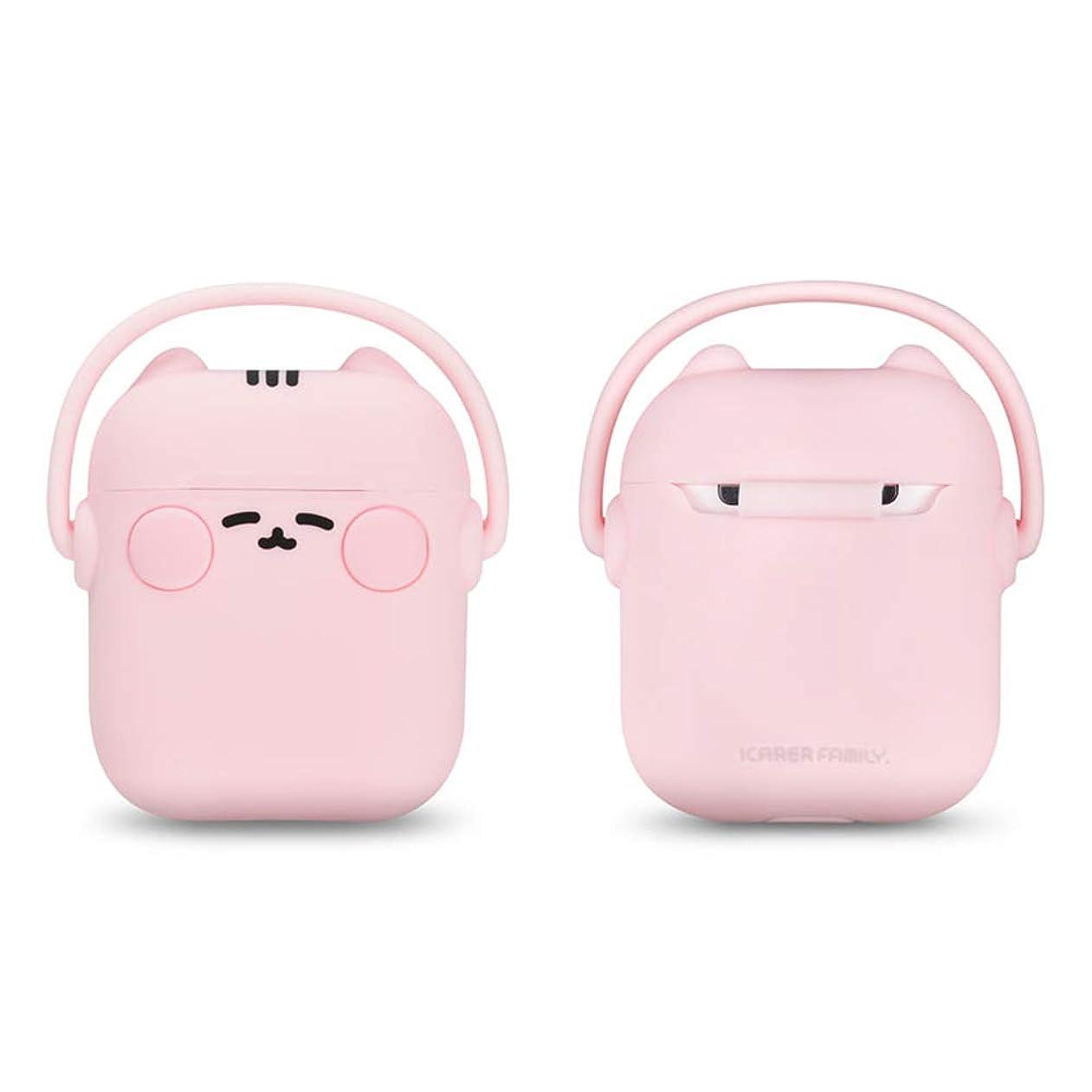 ネクタイ変装した起きるHappon Airpods 1世代&2世代用 シリコンカバー ケース 猫ちゃんイヤホンデザイン かわいい ケース 収納 耐衝撃 萌え萌え 紛失防止 イヤホンケース(Pink)