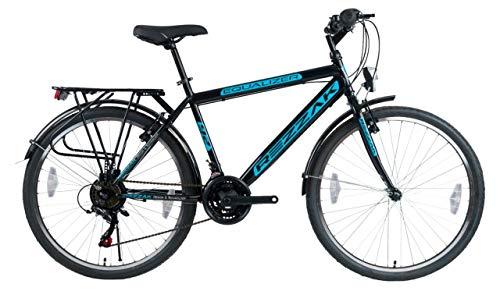 Rezzak 26 Zoll Fahrrad Herren Fahrrad Jungenfahrrad Herren Kinderfahrrad City Bike 21 Gang Schwarz Blau NEU -046