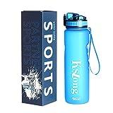 Kslong 水筒スポーツポット飲料ボトルTritan プラスチック直飲み携帯耐熱自転車ジム屋外アウトドア (ブルー, 500ml)
