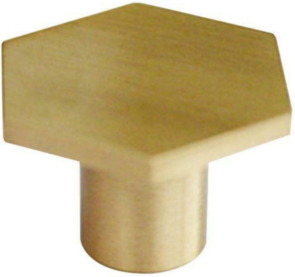 WDONGX A surprise price is realized Exquisite Door Handle 3Pcs Low price Knobs Brass Gold Cabin Hexagon