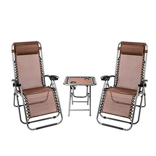 3 PCS Gravity Chair Patio Chaise Lounge Chairs Outdoor Yard Pool Recliner Folding Table Chair Set, Chair with Side Table, Brown