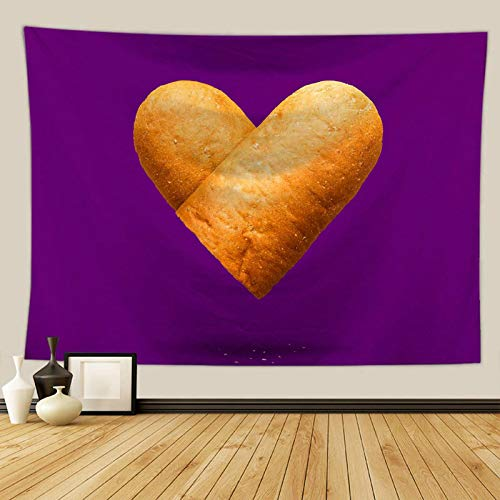 Aeici Wandteppich Indianisch Herzförmiges Brot Tuch Wandtuch 200x150 cm Polyester Wandtuch Wandbehang Lila Rot